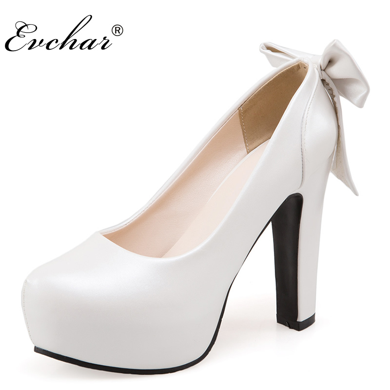 Women Basic Pumps Square Thick super High Heels pointed Toe Platform Butterfly Knot Spring Autumn Party Dress Ladies Shoes 34-50 xexy small square toe medium heels natural leather women shoe spring autumn buckle strap dance party sweet platform women pumps
