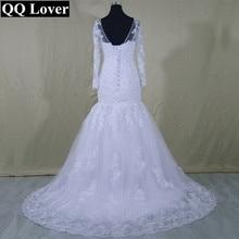 QQ Lover 2017 New Long Sleeves See Through Back Mermaid Wedding Dresses Custom-made Bridal Gown Vestido De Novia
