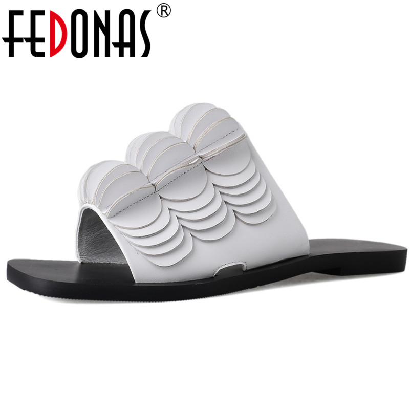 FEDONAS Brand Women 2019 Design Elegant Genuine Leather New Arrival Casual Summer Shoes Woman Concise Vintage