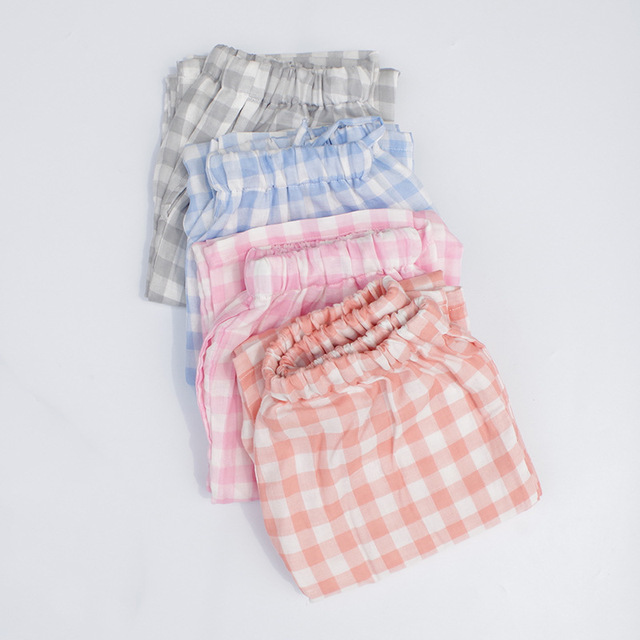 Hot 6 colors 100%Cotton Plaid Lounge Pants Womens Sleep Bottoms Pajamas  Pants Loose Casual Comfortable Pijama femme Home Pant aa1f8d03ee24