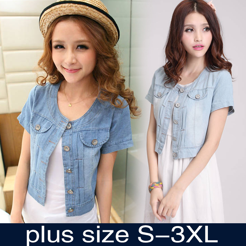 2016 New Fashion Women Round Neck Short Denim Jean Jacket Coat Half Sleeve Button S M L XL XXL 3XL