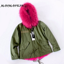 MAOMAOKONG Army Green Jacket Women Real Raccoon Fur Hooded Parka With Fur Lining For Winter