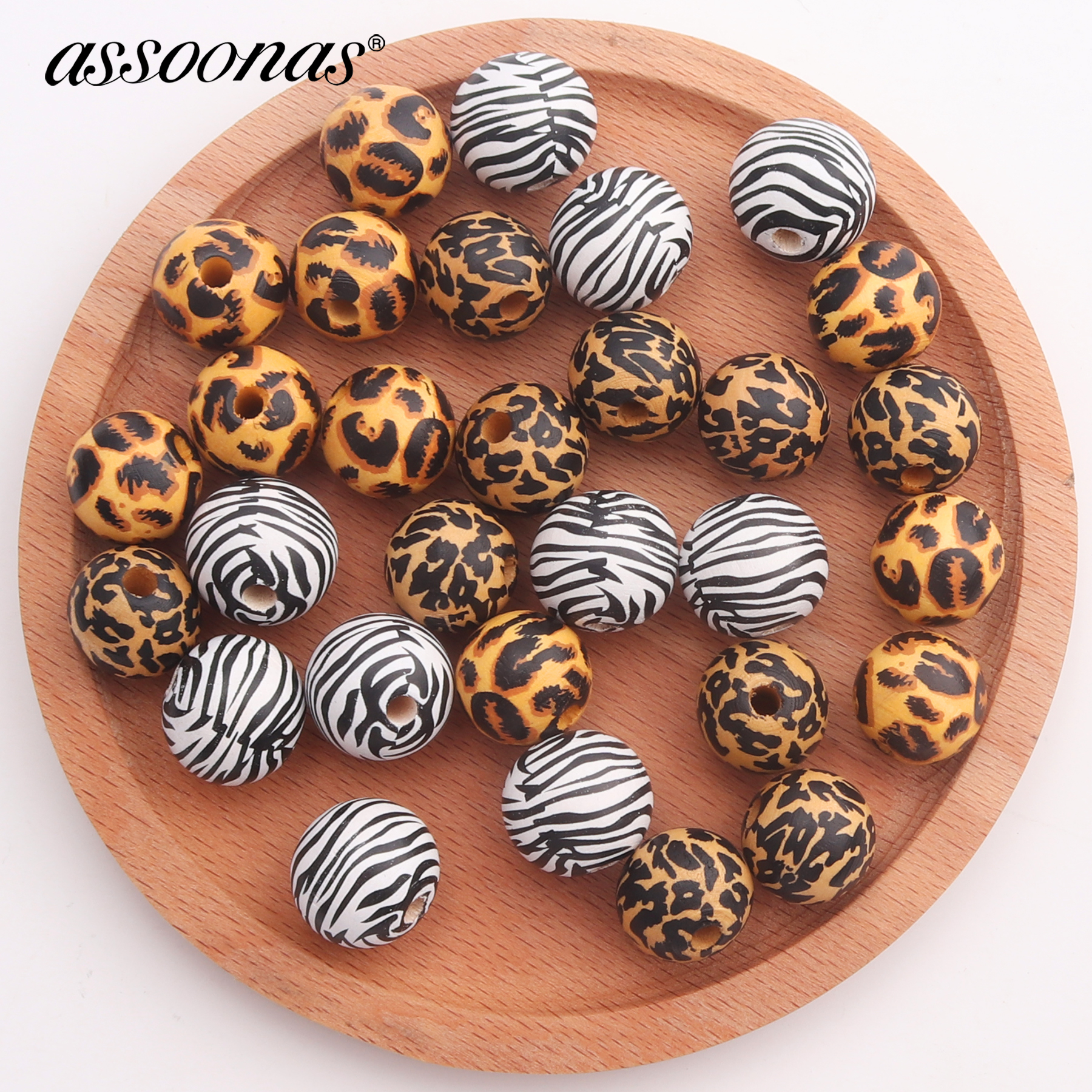 Assoonas M413,jewelry Accessories,big Beads Accessories,diy Pendant,leopard Print,ball Shape,wood Jewelry Making,diy Earrings