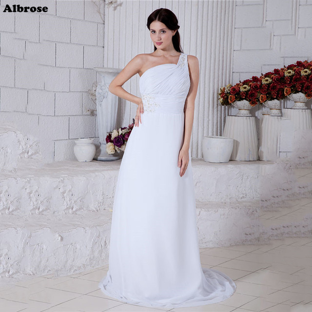 Cheap Simple White Wedding Dress One Shoulder Elegant Wedding ...