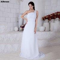 Giá rẻ Simple White Wedding Dress Một Vai Thanh Lịch Wedding Dresses Appliques Voan Bridal Gowns Đính Cườm robe de mariee