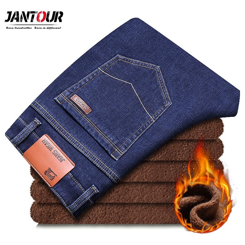 jantour 2018 New Men Warm   Jeans   High Quality Famous Brand Winter   Jeans   warm flocking warm Fleece soft mens   jeans   male 35 40 size