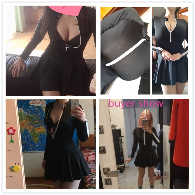 2018 Women Black Swimsuit Sexy Long Sleeves Push Up Swimming Skirt Sport Ladies Bodysuits Maillot De Bain Monokini Bathing Suits