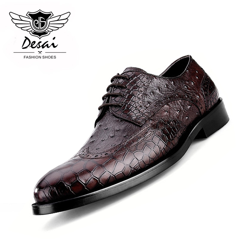 New Mens Formal Shoes Crocodile Pattern Retro Genuine Leather Mens Business Dress Wedding Shoes Size EU 38-44 DESAINew Mens Formal Shoes Crocodile Pattern Retro Genuine Leather Mens Business Dress Wedding Shoes Size EU 38-44 DESAI