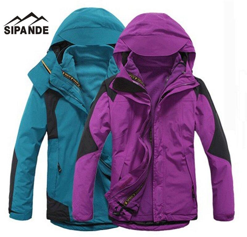 Men & Women's Winter windbreaker Hiking Jackets Waterproof Outerwear Sport Hoodied Camping Trekking 2 in 1 warm Coats