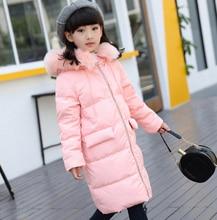 Russia Children down jacket girls long duck down coat children 2016 winter children warm parkas outwear kids baby jacket coats