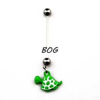 BOG-Lot Of 10 Pieces Pregnant Pregnancy Belly Button Ring Navel Piercing With Green Tortoise Dangle