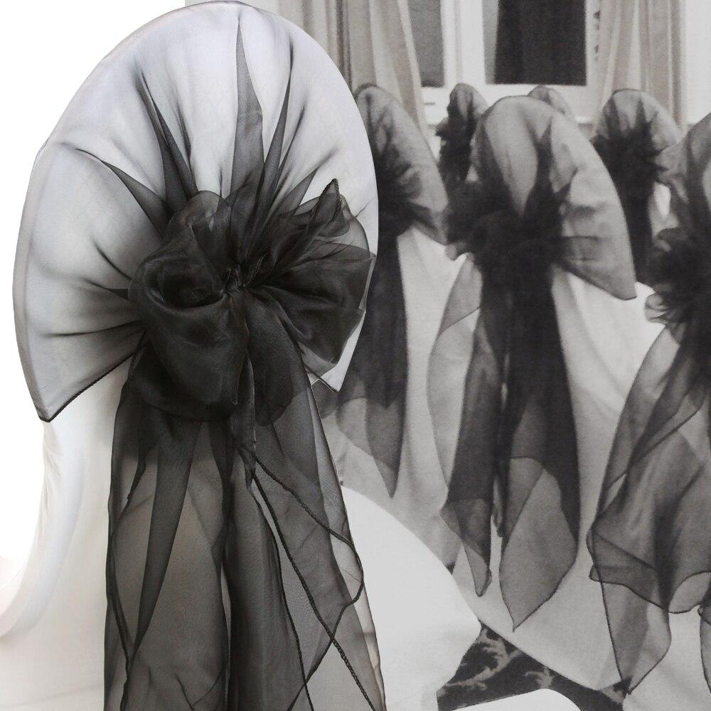 (65X275cm) 10pcs Organza Chair Hoods Wedding Event&Party&Banquet Decoration Chair Caps Wrap Tie Back Chair Cover Sash supplies
