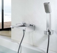 Квадратный Для ванной и душ смеситель для душа Медь Материал хромированная отделка с душем и держатель для душа гибкий шланг kf234