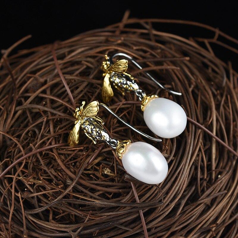 Artisanat italien 925 argent incrusté perle boucles d'oreilles à la main abeille oreille crochet boucles d'oreilles livraison gratuite