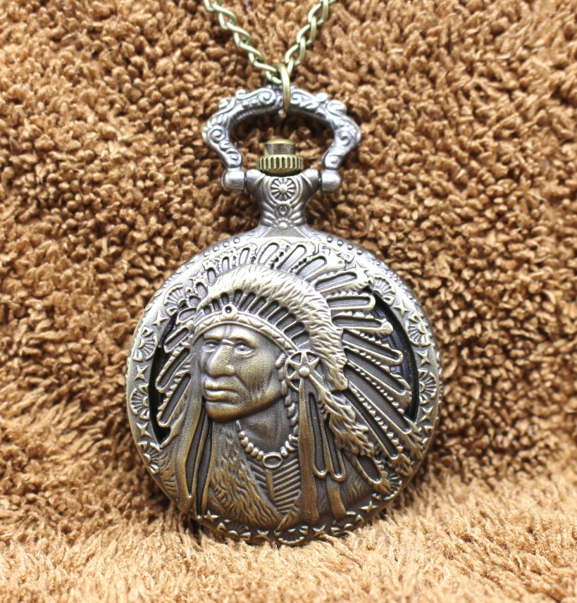 Antique Retro Indian People Quartz Pocket Watch Chain Bronze Watches For Men And Women Gift Relogio De Bolso
