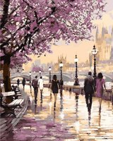 Unique Gift Landscape Cherry Blossoms Road Diy Oil Painting By Numbers Home Decor Acrylic Paint On
