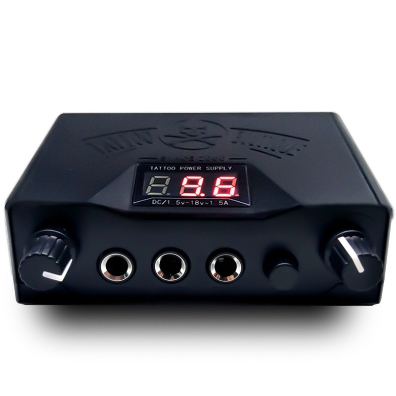 1Pcs New Black Double Dual LED 3 Digital Display Tattoo Power Supply for Tattoo Kits permanent makeup power supply tattoo outdoor single red p10 led module 4 pcs 1 pcs controller 1pcs mw power supply p10 led display sign diy kits