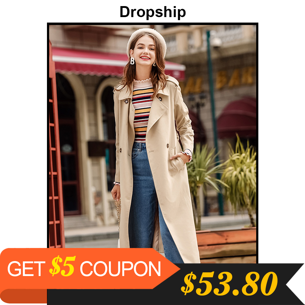 Dropship   Trench   For Women Long 2019 Streetwear Coat Veste Femme Double-breasted Autumn Spring Work Pockets