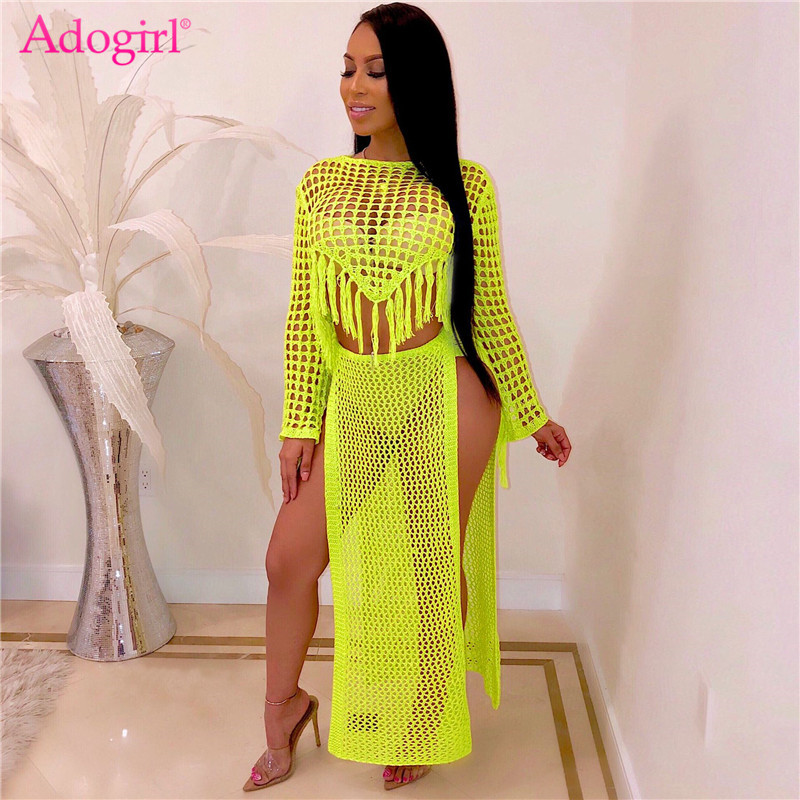 Adogirl Hollow Out Knitted Two Piece Set Dress Long Sleeve Tassel Crop Top High Slit Maxi Skirt Casual Women Clothing Beach Wear