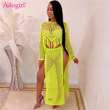 Adogirl Hollow Out Knitted Two Piece Set Dress Long Sleeve Tassel Crop Top High Slit Maxi Skirt Casual Women Clothing Beach Wear crop top with front slit cut out skirt