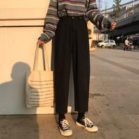 Mihoshop Ulzzang Korean Korea Women Fashion Clothing High Waist Black Wide Leg Trousers Pants