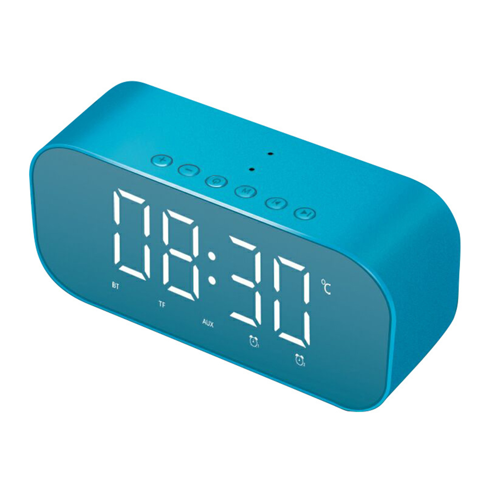 Wireless Bluetooth Speaker Subwoofer Music Sound Box LED Time Snooze Alarm Clock For PC Phone