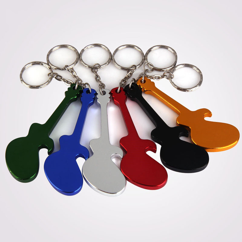 Outdoor EDC Multifunction Creative 1 Pcs Guitar Shaped Beer Opener Aluminum Alloy Bottle Opener Keychains Handy