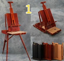 Portable painting frame folding wood painting easel art toolbox adjustable wooden artist tabletop box easel for artist cavalete