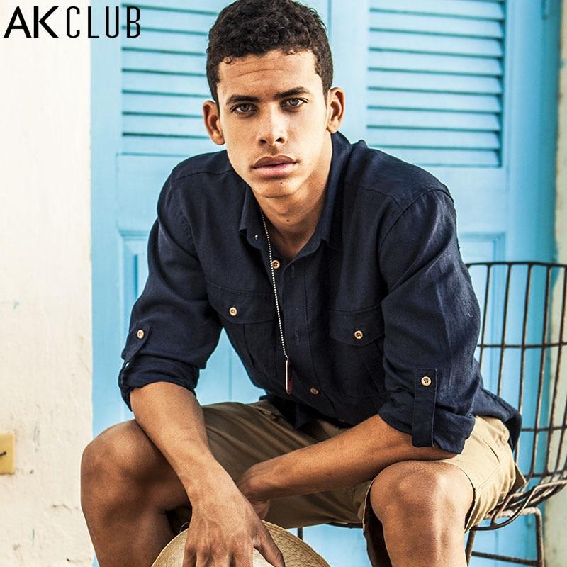 Ak club brand shirt men long sleeve shirt military style for Mens military style long sleeve shirts