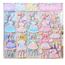 30sheets Stickers Lovely Girls 3D kawaii sticker Laptop Dress up Girl Changing Clothes stickers kids toys