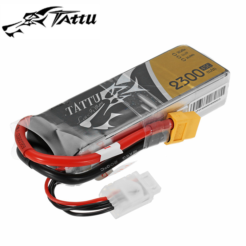 High Quality TATTU 11.1V 2300mAh 45C 3S Rechargeable Lipo Battery XT60 Plug for RC FPV Racing Drone RC Drone FPV Models Parts high quality realacc orange85 fpv racer spare part 3s 11 1v 450mah lipo battery for rc model