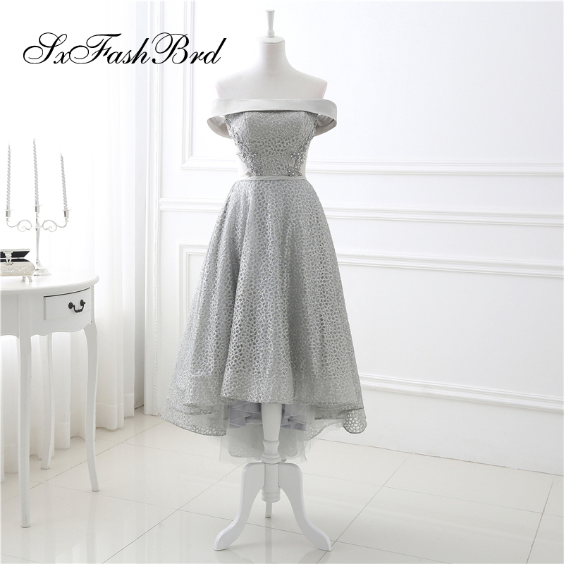 Robe Longue Boat Neck Short Sleeves Hi Low Lace Formal Elegant   Dresses   for Women Evening Party   Prom     Dress