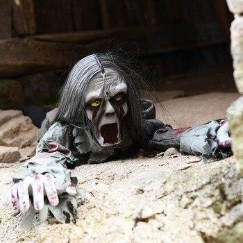 Decorações da Festa de Halloween Horror Layout Fantasmas Rastejando Brinquedo De Controle de Voz Olho Elétrico Brilho Rastejando Santo Haunted House Prop