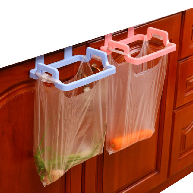 Kitchen Garbage Hanging Bag Plastic Cabinet Door Organizer Cupboard