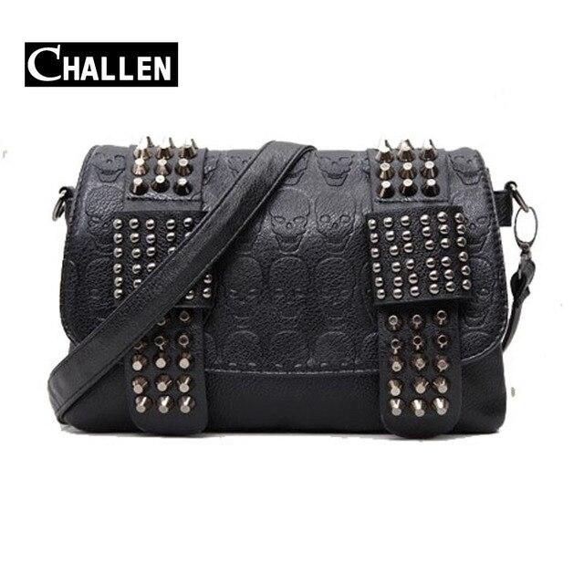 luxury handbags women bag designer pu leather women's bag rivet chain messenger shoulder bags female skull clutch famous brand