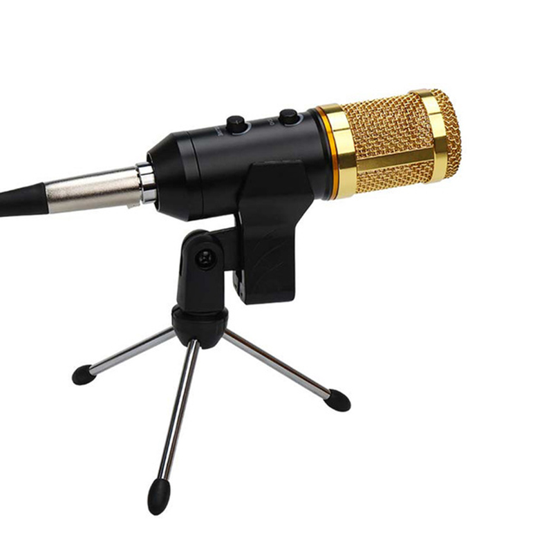 mk f200fl professional wire microphone handheld condenser with tripod stand mic for computer usb. Black Bedroom Furniture Sets. Home Design Ideas