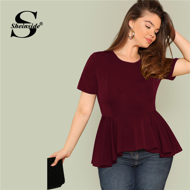 Sheinside Plus Size Ruffle Hem Womens Tops And Blouses 2019 Black Burgundy Stretch Solid Top Women Short Sleeve Summer Blouse 3