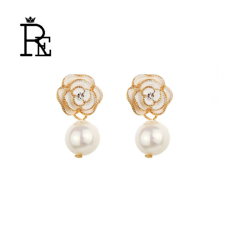 gold flower imitation pearl earrings for women boucle d 39 oreille pompon christmas jewelry crystal