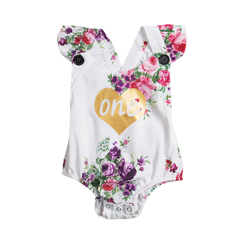New Arrival Infant Kids Baby Girls Rompers Floral Jumpsuit Sleeveless Cotton Girls Rompe ...