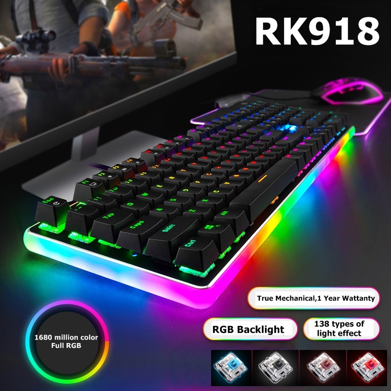 Color : Option 10 Gaming Keyboard Key Alloy Panel USB Wired Backlight Mechanical Gaming Keyboard Blue//Black Axis with Detachable Cable Keyboard