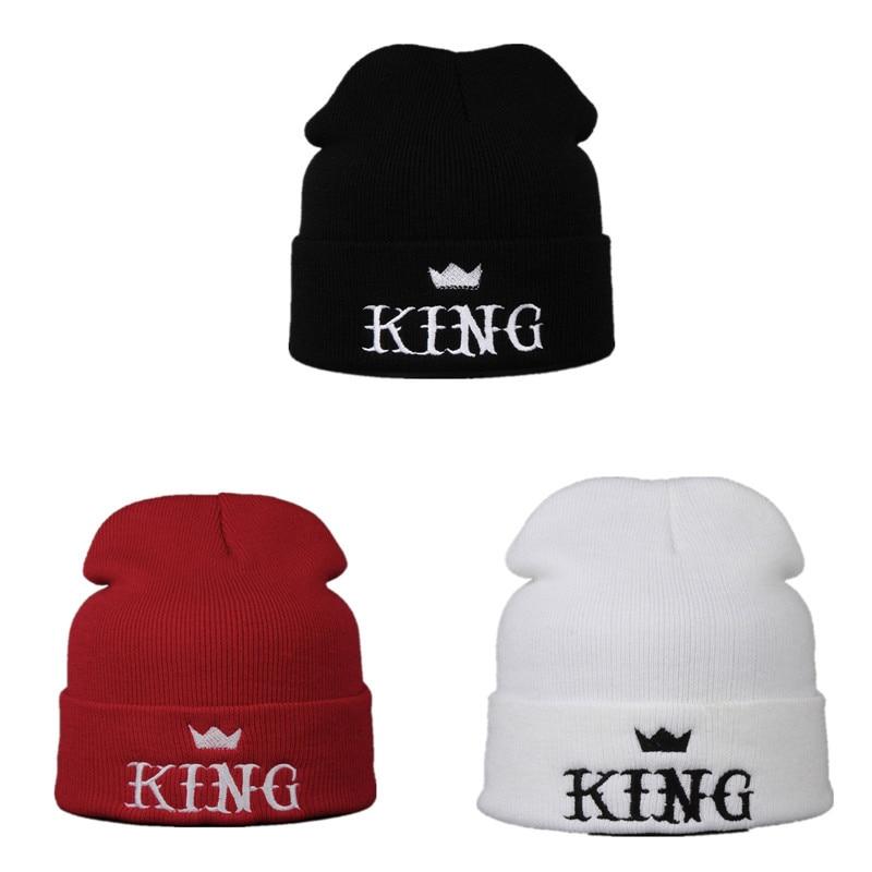 NEW 2017 KING Embroidered Warm Winter Hats For Unisex Women Men Bonnet Hip Hop Outdoor Ski Sports Knitted Skullies Beanies Cap