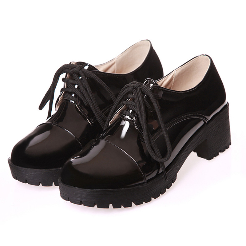 2016 Autumn Spring Oxfords Shoes For Women Low Thick Heel Platform Bullock Shoes Women Round Toe Vintage Creepers Lace Up Shoes new 2015 autumn flat t strap oxford shoes for women vintage british style round toe low thick heels women oxfords shoes woman