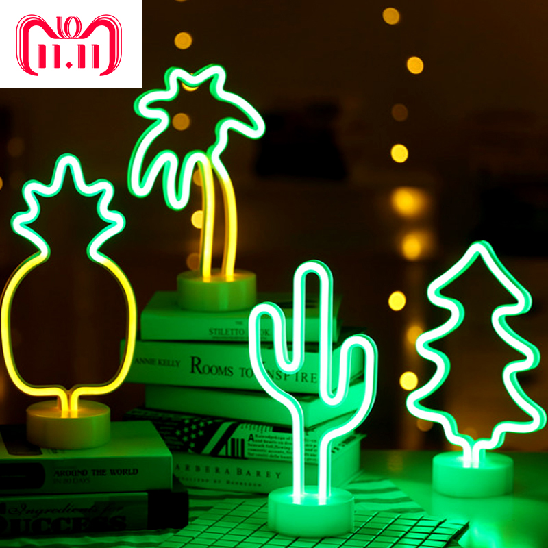 Neon Sign Table LED Night Light Cactus Coconut Tree Christmas Tree Pineapple Neon Desk Table Lamp Light for Festival Party Decor недорого