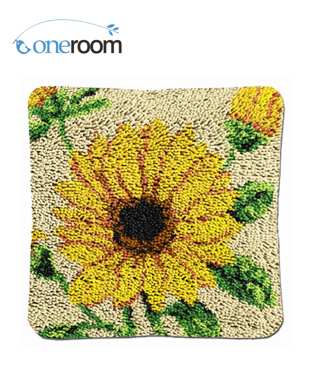 Oneroom BZ081 Sunflowers Hook Rug Kit Pillow DIY Unfinished Crocheting Yarn  Mat Latch Hook Rug Kit