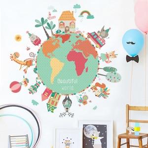 World Map Animals Wall Sticker