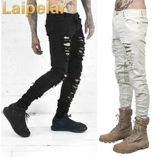 Laipelar New Fashion Men Black White Skinny Slim Fit Jeans Distressed Ripped Destroyed Holes Denim Pants men contrast stitching destroyed denim pants