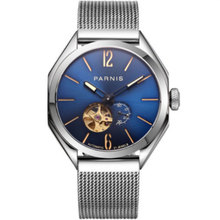 43mm PARNIS Blue Dial Sapphire Glass Luminous Stainless Miyota Mechanical Watches relogio masculino Gift Automatic mens Watch