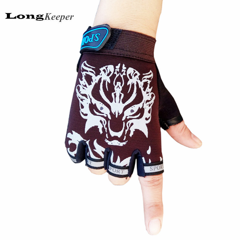 LongKeeper Sport Gloves For Kids Semi-finger Children Mittens Boys Girls Fingerless Cartoon Gloves For 5-13 Years Kid G-KID01