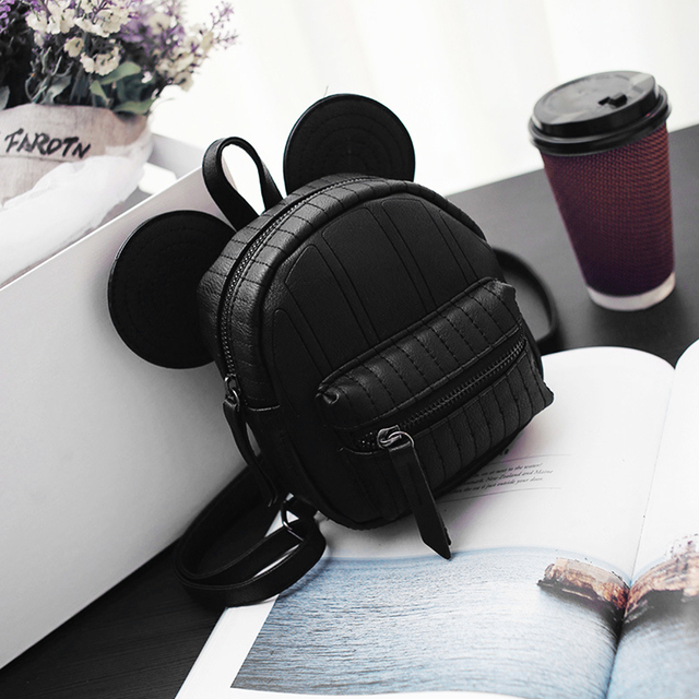 mini bag travel cute bag with Mickey ears fashion Female leather backpack  women small backpacks school men bags for girl 00c51415eb21f