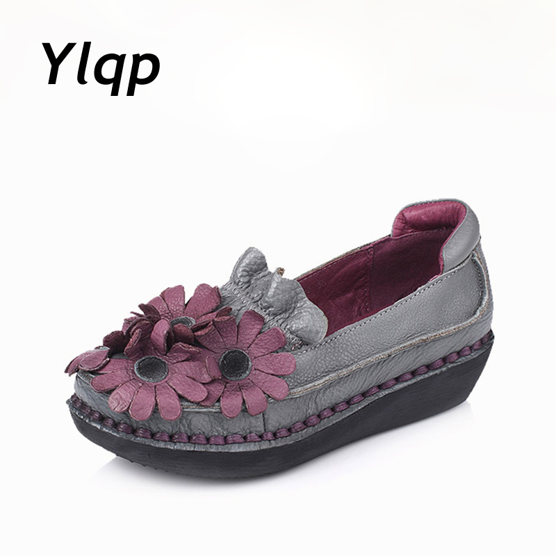 Ylqp 2018 Fashion Loafers Moccasins Women Genuine Leather Flat Shoes Woman Casual Work Driving Shoes Women Flats Slip On new suede leather women shoes loafers slip on sewing driving flats tassel woman breathable moccasins blue ladies boat flat shoes